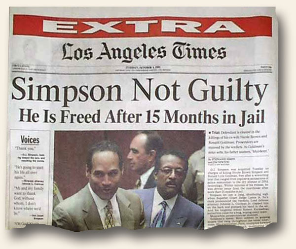 Los Angeles | History's Newsstand Blog Oj Simpson Not Guilty 1995