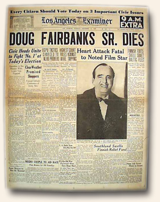 Douglas Fairbanks, Sr - Death