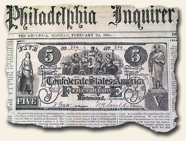 Newspaper Confederate bank note creates a crisis